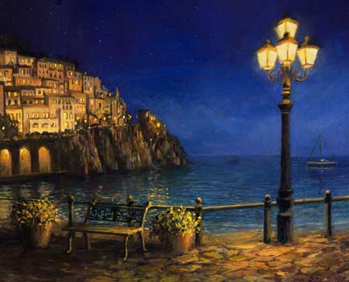 Amalfi at night painting